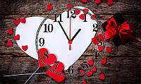"Часы настенные стеклянные ""Нearts valentines day"""
