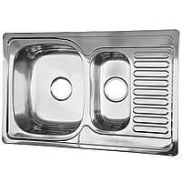 Мойка кухонная врезная 78*50 см две чаши покрытие микро-декор Germece 0,8 мм глубина 19 см