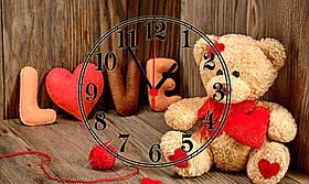 """Часы настенные стеклянные """" Love teddy bear"""""""