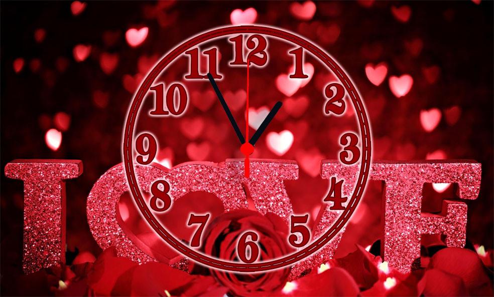 """Годинники настінні скляні """"День закоханих"""""""