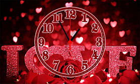 """Часы настенные стеклянные """"День влюбленных"""""""
