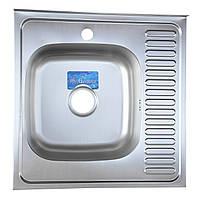 Кухонная мойка накладная 6060 декорированная Germece 0,8 мм глубина 16 см