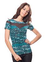 Яркая женская футболка с полупрозрачными вставками