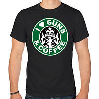 "Футболка ""I Love Guns and Coffee пистолеты и кофе"""