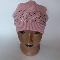 Детская вязаная шапка для девочки 7-10 лет оптом