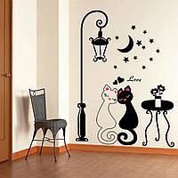 """Виниловая наклейка на стену """"Любовь, кошки, луна"""""""