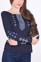 Замечательная женская вышиванка с голубым орнаментом в чёрном цвете