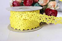 Кружевная лента желтого цвета ширина 2 см