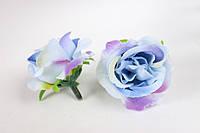 Английская роза (головка), 25 шт/уп, диаметр 4 см в голубых тонах оптом