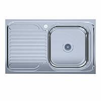 Мойка кухонная  нержавейка 50*80-R Polish (без сифона, накладная, полированная) 0,6мм. (Asil-UA - Украина)