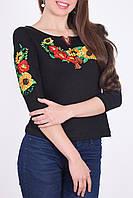 Стильная молодежная вышиванка рукав 3/4 в черном цвете маки и подсолнух