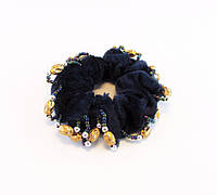 Резинка для волос велюр бисер бусины-12 шт.- Ø 6,0 см.* Ø 10,0 см.