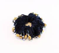 Резинка для волос велюр бисер бусины-12 шт.- Ø 6,0 см.* Ø 10,0 см., фото 1