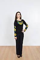 Праздничная женская футболка вышиванка длинный рукав с  подсолнухами