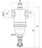 """Самопромывной фильтр для закр.сист. 1-1/4""""Icma""""№745. (ICMA - Италия)"""