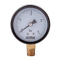 "Манометр нижнего.подключ.1/4   0- 4 бар ""Icma"" №244. (ICMA - Италия)"