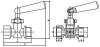 Кран под манометр 1/2 вв PN16 110*С трехход №159. (ICMA - Италия)