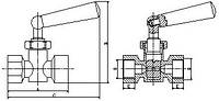 Кран под манометр 1/2 вв PN16 110*С №158. (ICMA - Италия)
