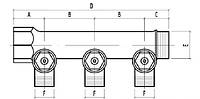 """Коллектор простой сборный с отсекающими кранами 3/4х2 под фитинг 24х1,5 """"Icma"""" №228. (ICMA - Италия)"""