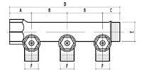 """Коллектор простой сборный с отсекающими кранами  1""""х2  резьба 1/2 """"Icma"""" №227. (ICMA - Италия)"""