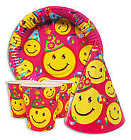 """Набор для детского дня рождения """"  Смйлики """". Тарелки -10шт. Стаканчики - 10шт. Колпачки - 10шт."""