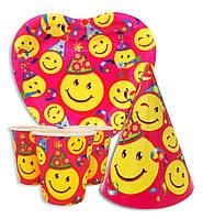 """Набор для детского дня рождения """" Смайлик """". Тарелки -10 шт. Стаканчики - 10 шт. Колпачки - 10 шт."""