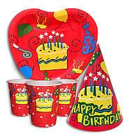"""Набор для детского дня рождения """" Тортик """". Тарелки -10 шт. Стаканчики - 10 шт. Колпачки - 10 шт."""