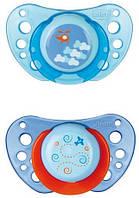 Пустышка Chicco Physio Air (2 шт), силикон, голубой, 4м+