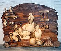"""Резная картина из дерева """"Кум и кума"""""""