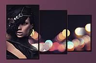 """Модульная картина на холсте из 3-х частей """"Девушка в шляпе"""""""
