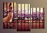"""Модульная картина на холсте из 3-х частей """"Девушка в длинном платье"""""""