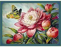 Набор для вышивания бисером. Бабочка на пионе, 30х40см., фото 1