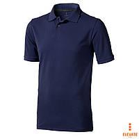 Тенниска Поло мужская хб, тёмно-синяя, трикотажная  Calgary от Elevate, футболки-поло однотонные
