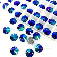 Пришивные камни (синтетич.стекло).Цвет Sapphire AB.10mm*1шт
