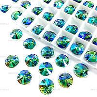 Пришивные камни (синтетич.стекло).Цвет Lt Peridot AB.12mm*1шт