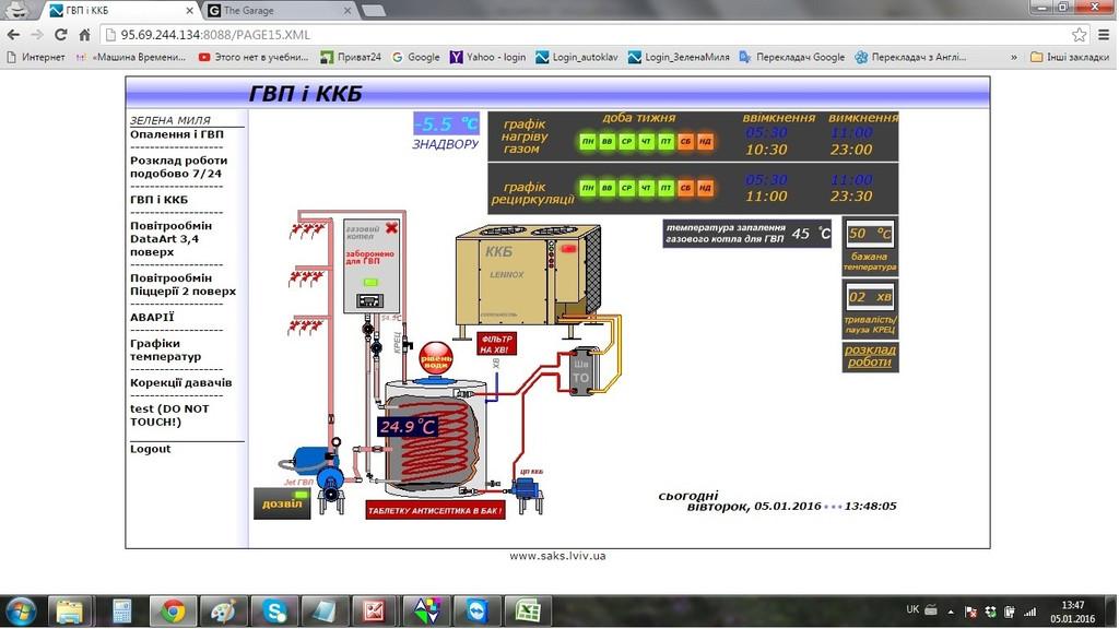 Горячее водоснабжение и компрессорно-конденсационный блок