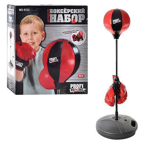 Боксерский набор (перчатки, груша 25см) на стойке 90*130см  MS0332