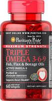 Омега 3   Puritan's Pride  Triple Omega 3-6-9 (Fish & Flax Oils) 120 softgels