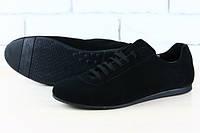 Туфли мужские черные замшевые на шнурках, 40-45 р-р