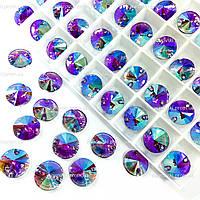 Пришивные камни (синтетич.стекло).Цвет Fuchsia AB.12mm*1шт