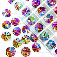 Пришивные камни (синтетич.стекло).Цвет  Topaz AB.12mm*1шт