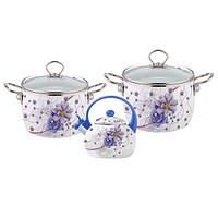 Набор эмалированной посуды 5 предметов (4.4л, 5.5л, чайник 2.5л с голубой ручкой) Kamille 5900B