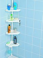 Полка угловая в ванную комнату телескопическая белая, PrimaNova, N02-01
