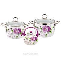 Набор эмалированной посуды 5 предметов (4.4л, 5.5л, чайник 2.5л с фиолетовой ручкой)Kamille 5900А