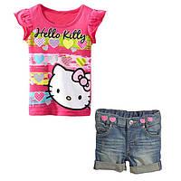 Джинсовые шорты на девочку и футболка с Китти