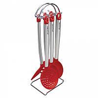 Набор кухонных принадлежностей на подставке 6 предметов с нержавеющую сталь и нейлона Kamille 7726