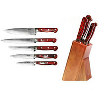 Набор ножей кухонных из нерж. стали с ручками из ABS с деревянной фактурой и подставкой 6 пр Kamille 5109