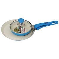 Набор сковородка для блинов 22см и сковородка 14 см с крышкой (керамическое покрытие)Kamille 061