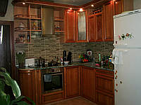 """Кухня """"Медовая"""" с деревянными фасадами Drewpol"""