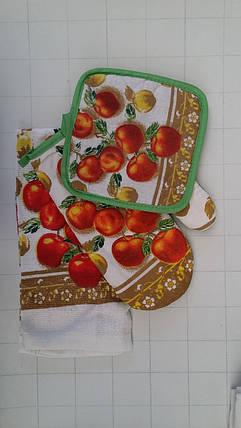 Подарочный набор для кухни прихватка, рукавичка, полотенце с яблоками, фото 2